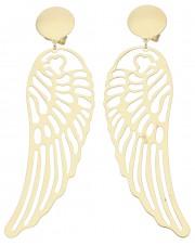 Duże złote kolczyki skrzydła anioła