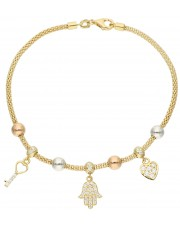Złota modna bransoletka z przywieszkami