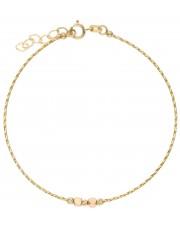 Subtelna złota bransoletka linka z przekładkami