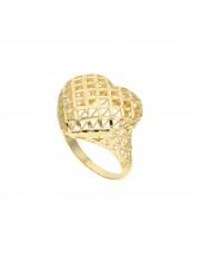 Duży złoty pierścionek ażurowe serce
