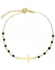 Złota bransoletka z krzyżykiem i cyrkoniami