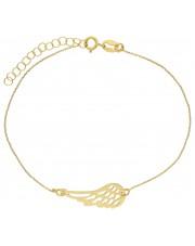 Złota bransoletka ze skrzydłem anioła