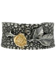 Szeroka srebrna bransoleta z różą