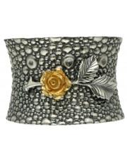 Duża szeroka srebrna bransoleta z różą