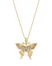 Piękna złota zawieszka motyl ruchome skrzydła