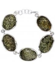 Srebrna bransoleta z zielonymi bursztynami