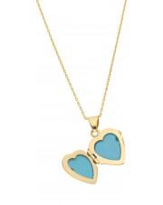 Złota zawieszka puzderko w kształcie serca na zdjęcie