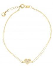 Piękna subtelna złota bransoletka z serduszkiem