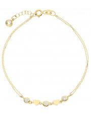 Złota subtelna bransoletka z serduszkami