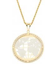 Oryginalna złota zawieszka mapa świata