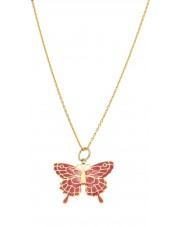 Złota zawieszka witrażowy motyl